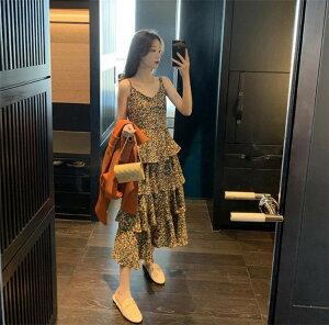 韓国ファッション エレガント 細身 花柄 キャミワンピ トレンド シフォン ケーキスカート 可愛い系(T)
