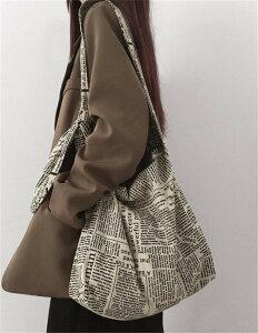 韓国ファッション レトロ 英語 プリント 大容量 クロスボディバッグ コットン リネン キャンバスバッグ(T)