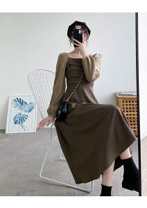 優雅女性らしい 韓国ファッション スクエアネック 高級感 ティーブレイクドレス ギャザリング(T)