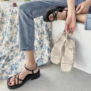 サンダル マフィン 厚いヒール シングルベルト トレンド ローマの靴 オシャレ(T)