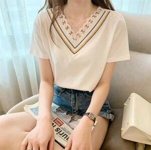 韓国ファッション Vネック 半袖 Tシャツ 可愛い系 学院風 ファッション(T)
