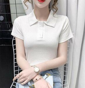 韓国ファッション poloネック 半袖 Tシャツ カジュアル(T)