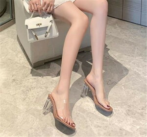 一言 サンダル 女性 太いヒール スタイル ファッション 透明 ピンヒール スリッパ 潮(T)