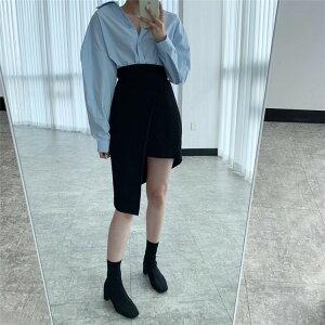 オシャレの幅が広がる ピュアカラー シンプル シンプル スカート ラペル ゆったり 単体ボタン(T)