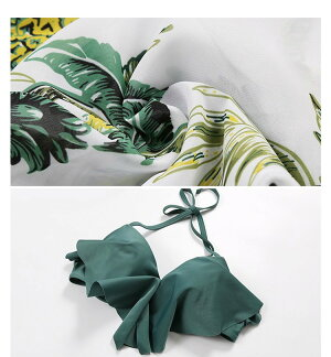 パイナップル柄バンドゥビキニ羽織付き水着3点セットバンドゥ体型カバー大きいサイズML