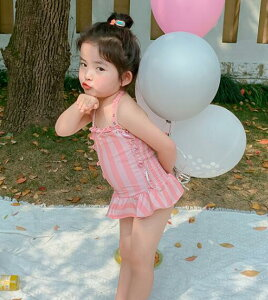水着 女の子 子供用 こども キッズ ワンピース ストライプ 縦縞 スカート ピンク 韓国 ファッション 90 100 110 120 130 サイズ ジュニア 子供用水着 キッズ水着 かわいい 可愛い おしゃれ レース