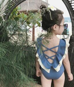 水着 女の子 子供用 こども キッズ ワンピース フリル ブルー 襟付き 韓国 ファッション 90 100 110 120 130 140 サイズ ジュニア 子供用水着 キッズ水着 かわいい 可愛い おしゃれ レース フリル 子