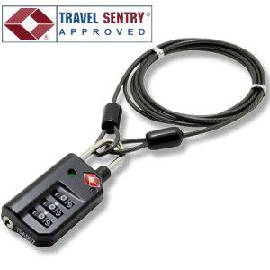 TSAロック 南京錠 鍵 3桁 ダイヤル式 ワイヤーケーブル 1.2m MBZ-TI3/BK 黒 ブラック インジケーター付き 旅人専科シリーズ ミヨシ MCO(mi1a258)