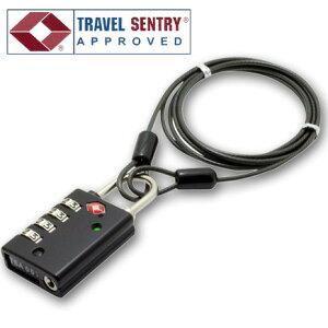 TSAロック 南京錠 鍵 4桁 ダイヤル式 ワイヤーケーブル 1.2m MBZ-TI4/BK 黒 ブラック インジケーター付き 旅人専科シリーズ ミヨシ MCO(mi1a259)