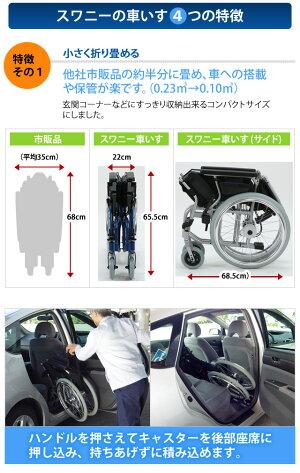 SWANY(スワニー)世界最小車椅子新型80201自走式シルバー(su1a140)