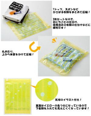 日本製コンプレッションバッグSサイズ3枚入衣類圧縮袋4点までメール便OK(ra1a100)