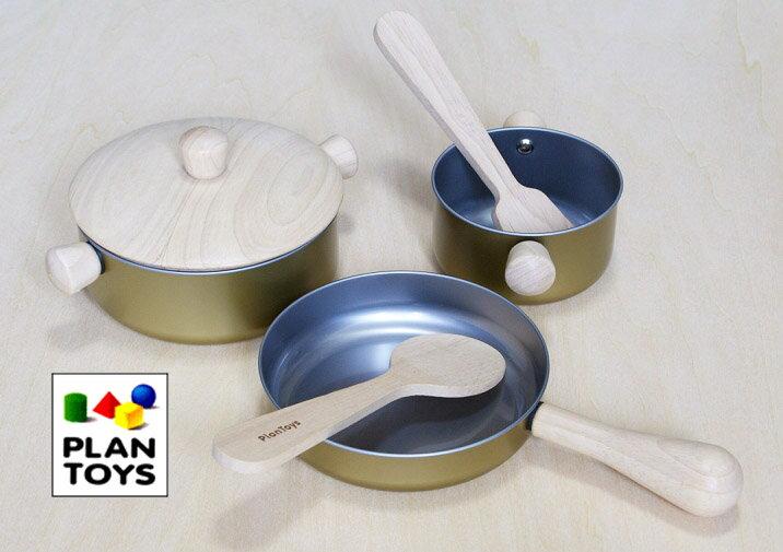 プラントイ 木のおもちゃ PLANTOYS 調理用具セット フライパン 鍋 おままごとセット 【あす楽対応】