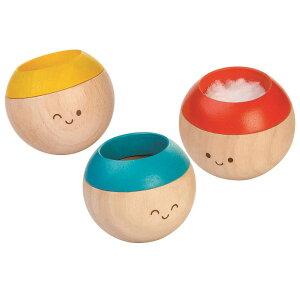 木のおもちゃ プラントイ PLANTOYS 起き上がりこぼし 3個セット センサリータンブリング 乳幼児 知育玩具 3色 顔