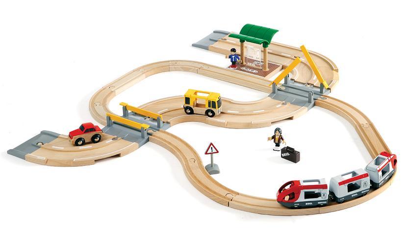 BRIO(ブリオ) 木製レール&ロードトラベルセット 汽車と車遊び 木のおもちゃ