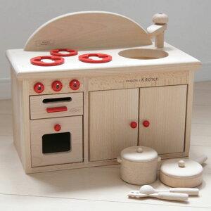 木のおもちゃ ミドルキッチンセット オーブン・コンロ お鍋、フライパン おままごとセット 木製 ミニキッチン