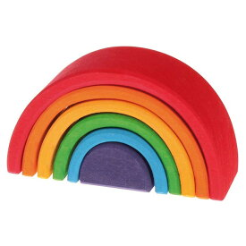 グリムス社 木のおもちゃ ドイツ製 GRIMMS 木製アーチレインボー ミニ 虹色 木製玩具 知育玩具 積木 積み木