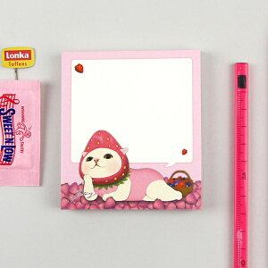 jetoy ジェトイ choochoo本舗 猫雑貨 猫のメモパッド3 いちご 白ねこ フルーツ かわいい 【あす楽対応】