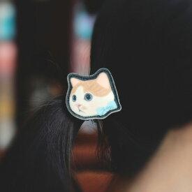 jetoy ジェトイ choochoo本舗 猫雑貨 猫のヘアゴム 白茶リボンネコ フェルト素材 ねこ 【あす楽対応】