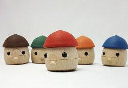 木のおもちゃどんぐりころころ赤・青・緑・茶・オレンジおもちゃのこまーむ日本製木製玩具繰り返し動くおもちゃブナ材知育玩具