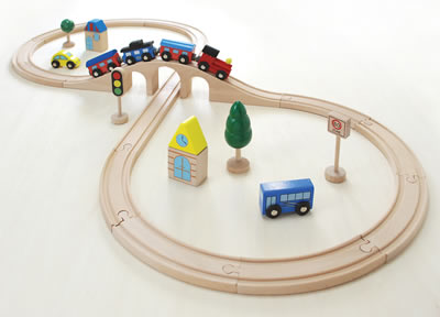 木のおもちゃ 木製レール 汽車レールセット スタンダード 電車玩具