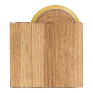 テープカッター オーク セロハンテープカッター しかく 木製 ラトレ latree DEN 天然木 シンプル おしゃれ インテリア