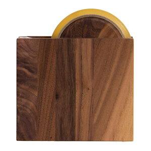 テープカッター ウォルナット セロハンテープカッター しかく 木製 ラトレ latree DEN 天然木 シンプル おしゃれ インテリア