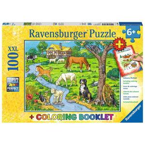 ジグソーパズル 子供用 牧場の動物たち(ぬりえ付き) 100ピース 知育玩具 6歳から ラベンスバーガー Ravensburger