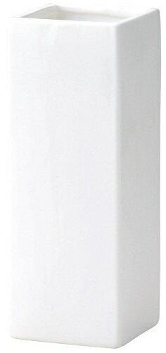 陶器フラワーベース角型ホワイト白大花器花瓶