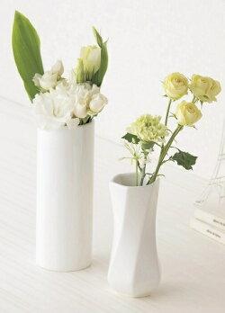 陶器フラワーベース六角ツイストホワイト白中花器花瓶