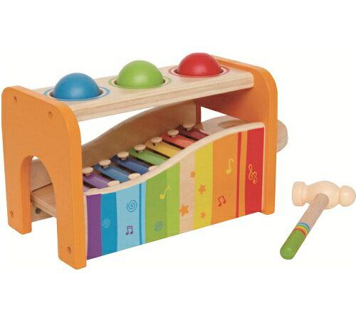 Hape ハペ社 木のおもちゃ パウンドアンドタップベンチ ボール叩き&鉄琴 ハンマートイ 木製玩具 楽器玩具 ベビー 【あす楽対応】