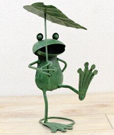 ガーデンオーナメント かわいいブリキのカエル かえるのオブジェ 葉っぱ傘 玄関 置物 飾り インテリア雑貨 【あす楽対応】