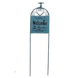 ウエルカムボード ガーデンピック ブルー 蛇口 アイアン ガーデンオーナメント 置物 飾り インテリア雑貨 【あす楽対応】