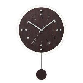 電波時計 シンプルモダン振り子時計 ガラス ブラウン 茶 壁掛け時計