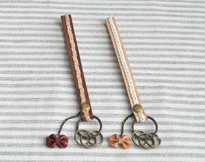 レザーキーリング リボン 革製 ファッション小物 おしゃれ 選べる2色 【あす楽対応】