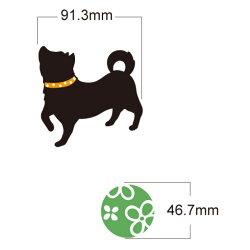 ウォールステッカー柴犬と四葉のクローバーシルエット壁紙インテリアシール壁飾りインテリア雑貨模様替えに