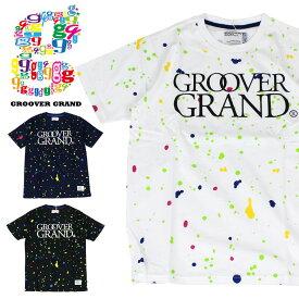GROOVER GRAND グルーバーグランド Tシャツ メンズ 半袖Tシャツ Tee ペイント柄 英字ロゴ プリント カラフル スプラッシュ XXL 2XL 2L 3L 大きいサイズ ストリート系 ファッション ダンス B系 かっこいい ブラック ホワイト ネイビー