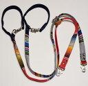 マルチストライプ&デニム 綿 3way 長さ調節可能 カフェリード。レバーナスカン使用【Sサイズ・小型犬用/Mサイズ中…