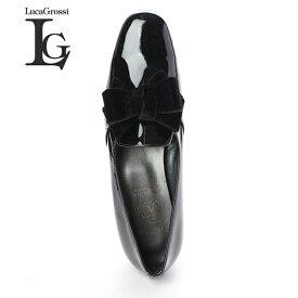 【セール対象】LucaGrossi ルカグロッシ DA2070M リボンエナメルローファー ブラック エナメルローファー ground 靴 レビューキャンペーン実施中