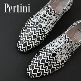 ポイント15倍2020春夏 Pertiniペルティニ 201W15900 幾何学×ペイントレザードレスシューズ ground 靴 【キャッシュレス5%還元対象】