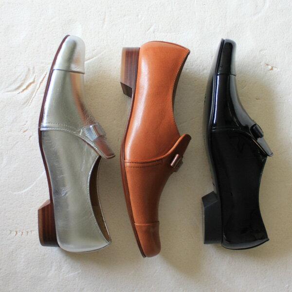 chausser(ショセ) C-2202 リボン付きオペラマニッシュシューズ エナメルブラック シルバー ground 靴 母の日 クーポン対象
