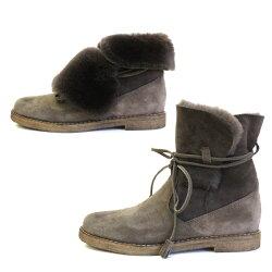 【2015秋冬】STEFANOGAMBA/ステファノガンバ6974折り返しスウェードムートンブーツトープ ground 靴【送料無料】