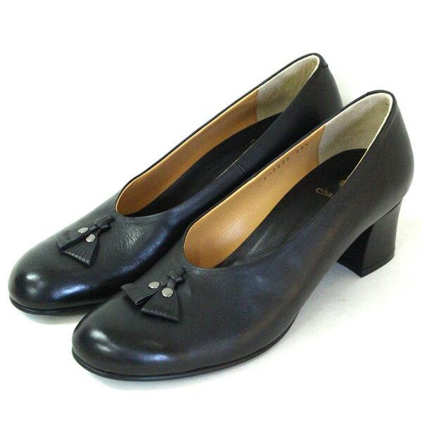 【送料無料】chausser/ショセ C2222サケットモチーフ付きパンプスブラック|ground|靴|