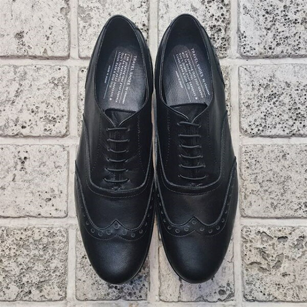 【予約】【5月下旬入荷予定】【一部即納あり】【2018春夏】TRAVEL SHOES by chausser(トラベルシューズバイショセ)|TR-004|ウィングチップマニッシュシューズ|レースアップ|ウイングチップ|ブラック|ground|靴|