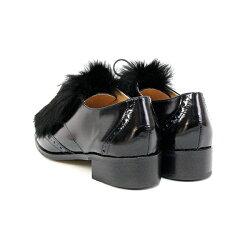 【定価\22,000→\17,600】【2017秋冬】L'avenue/ラヴェニュー1757ファー付きウイングチップマニッシュシューズブラックオークラビットファー|ground|靴|【返品交換不可】