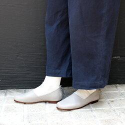 【2017秋冬】L'avenue/ラヴェニュー102レザースリッポンライトグレイ|ground|靴|