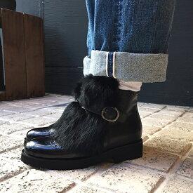 【送料無料】LucaGrossiルカグロッシD095Tファーベルトショートブーツブラックground靴 レビューキャンペーン実施中