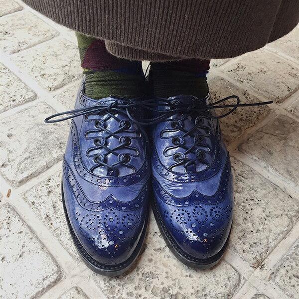 【送料無料】【2017秋冬】plus by chausser(プリュスバイショセ) PC5038 手染めエナメルギリーシューズ ネイビー|ground|靴|