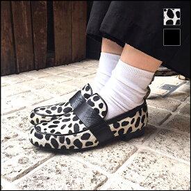 【送料無料】chausser ショセC-2257スクエアトゥハラコローファーブラックポニーダルメシアン ground 靴