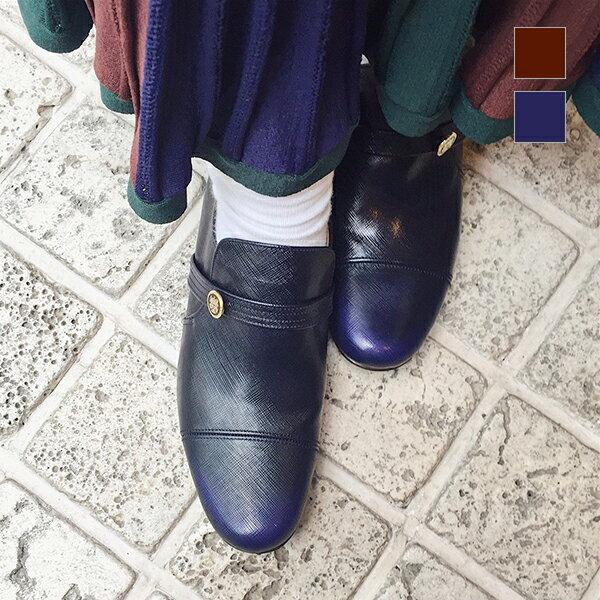 【送料無料】【ground限定カラー】【2017秋冬】chausser/ショセ C-248 定番ボタンマニッシュシューズ ダークブラウン ネイビー|ground|靴|