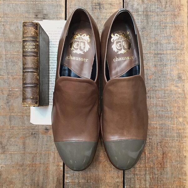 【送料無料】【ground別注カラー】chausser ショセC-2244異素材切り替えスリッポンシューズグレイ ground 靴 母の日 クーポン対象